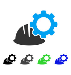 Helmet and gear flat icon vector