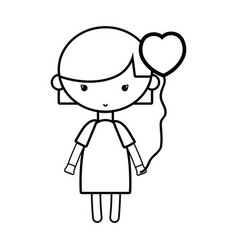 Line beauty girl with heart balloons and hairstyle vector