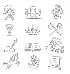 medieval set vector image vector image