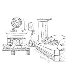Modern interior room sketch Hand drawn furniture vector image