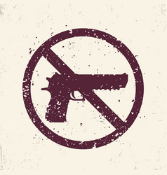 No guns sign with pistol handgun silhouette vector