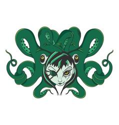 Octopus zombie woman vector