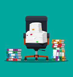 Pile of paper documents and file folders vector