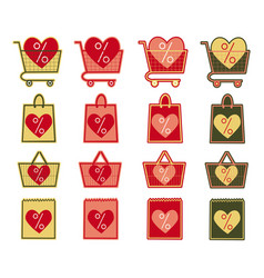 Sale shop bag basket and cart icons set discount vector