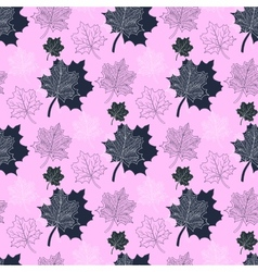 Seamless autumn patternabstract leaf on a pink vector
