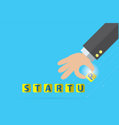 Startup word and business hand business concept vector