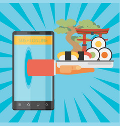 Sushi delivery by mobile application vector