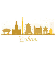 Wuhan city skyline golden silhouette vector