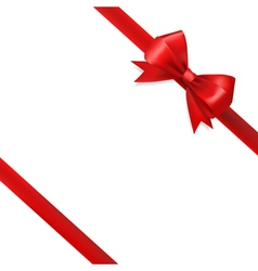 Red silky bow ribbon vector