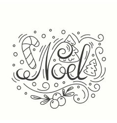 Noel card winter holiday typography handdrawn vector