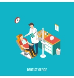 Dentist office during reception patient vector