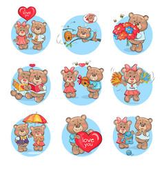 Loving cartoon bears flat icons set vector
