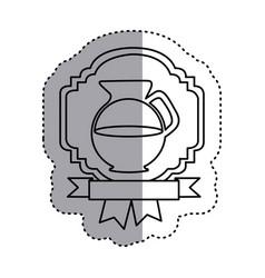 sticker silhouette border heraldic decorative vector image