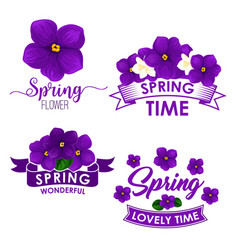 Spring flower bouquet isolated symbol set vector