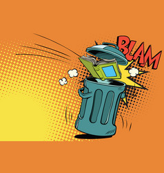 Book thrown in the trash vector