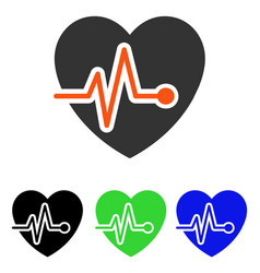 Heart pulse flat icon vector