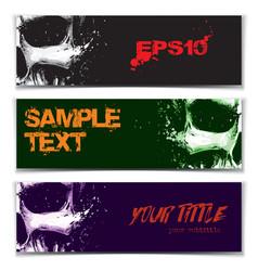 Skull artistic splatter banners black green purple vector