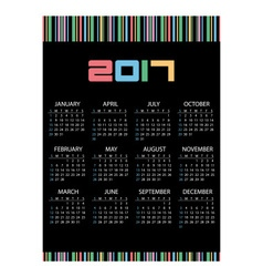 2017 simple business wall calendar color barcode vector image vector image