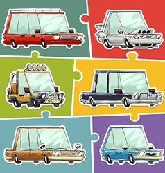 Cartoon cars stickers set vector