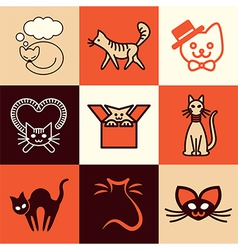 Cats logo icons vector