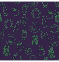 Saint patricks day seamless pattern with beer pot vector
