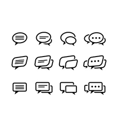 Black line speech bubble icons set vector