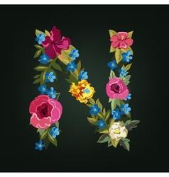 N letter flower capital alphabet colorful font vector