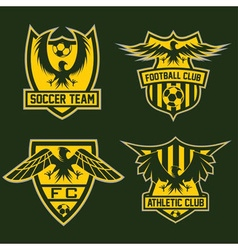 Football team crests set with eagles design vector
