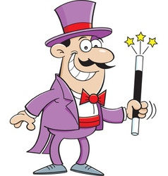 Cartoon smiling magician holding a magic wand vector
