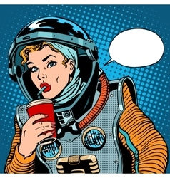 Female astronaut drinking soda vector image