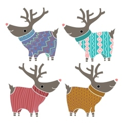 Set of four cute reindeers in amusing knitted vector