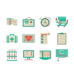 Flat design icons for cardiology vector