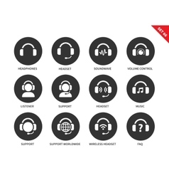 Ear-laps icons on white background vector