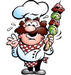 Chef with a kebab skewer vector