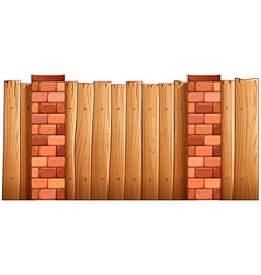 A fence made of wood and bricks vector