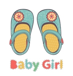 beautiful baby girl shoes vector image vector image