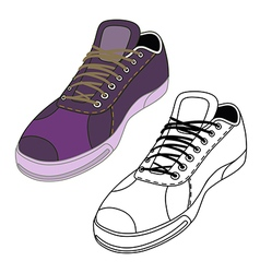 Black outlined colored sneakers shoes set vector