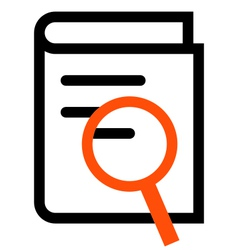 Book search outline icon vector