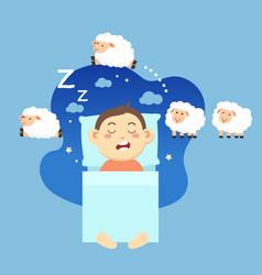 Boy sleepingcounting sheep to fall asleep vector