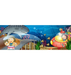 Children riding in car and submarine underwater vector