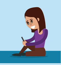 Color background of woman sitting with smartphone vector