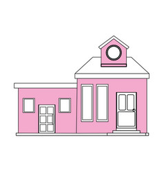 Color silhouette cartoon pink facade modern house vector