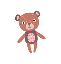 Cute soft teddy bear plush toy stuffed cartoon vector