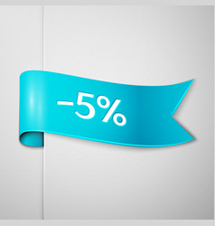 Cyan ribbon with text five percent for discount vector