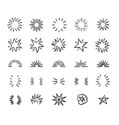 Elegant ink brush circle bursts and whimsical vector