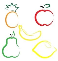 Flat set of fruits vector image vector image