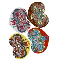 Four lace heart shape with ethnic floral paisley vector