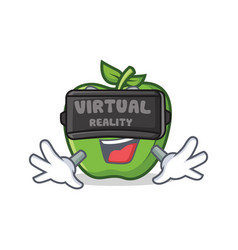 Green apple character cartoon with virtual reality vector