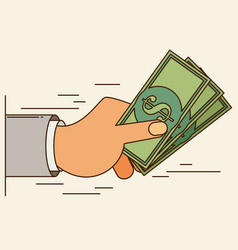 Hands holding money bills flat style vector