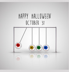 happy halloween background with hanging eyes vector image